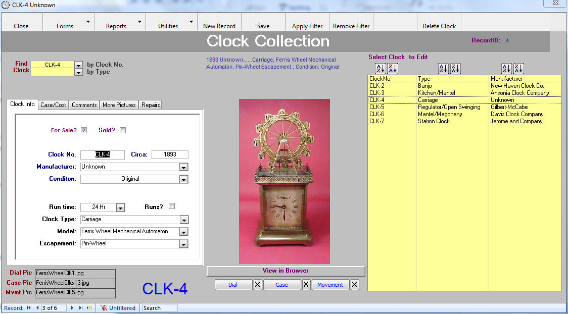 Clock Collector Main Input Form